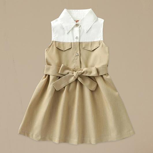 小女童氣質拼接洋裝-S.M.L.XL