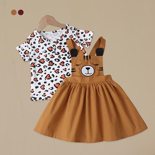 小女童滿版圖案T恤帶刺繡背帶洋裝-S.M.L.XL