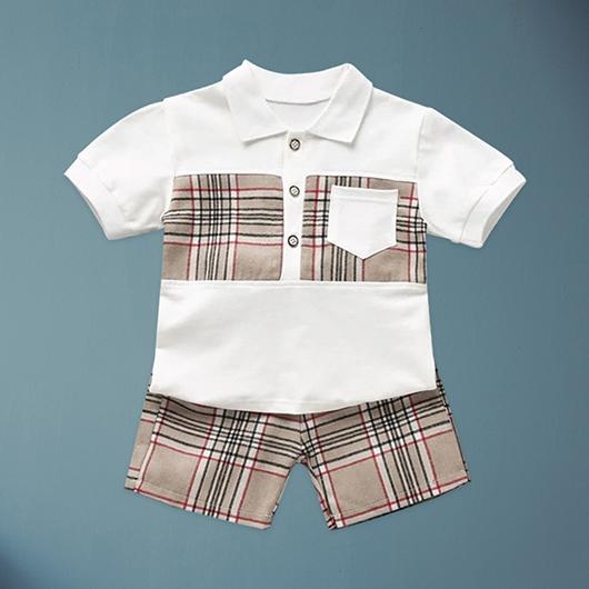 小男童格紋polo衫兩件式-S.M.L.XL
