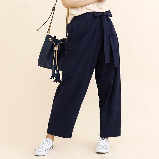 aimoha-腰綁帶棉質設計感寬褲
