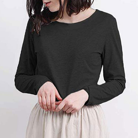 aimoha-basic圓領親膚棉質長袖T-shirt