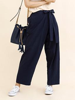 aimoha-腰綁帶棉質設計感寬褲-深藍