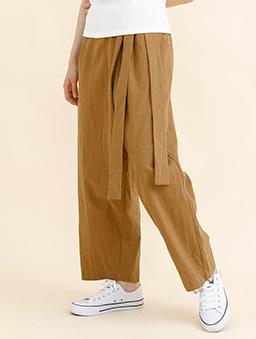 aimoha-腰綁帶棉質設計感寬褲-棕