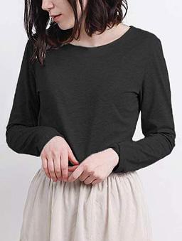 aimoha-basic圓領親膚棉質長袖T-shirt-黑