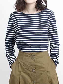 aimoha-basic圓領親膚棉質長袖T-shirt-深藍