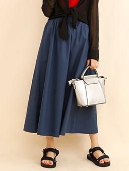 aimoha-basic鬆緊腰頭棉質亞麻長裙-藍