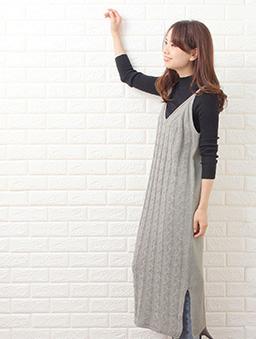 Grandeir-側開岔麻花織紋背心針織洋裝-灰